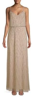 Adrianna Papell Beaded Sleeveless Blouson Gown