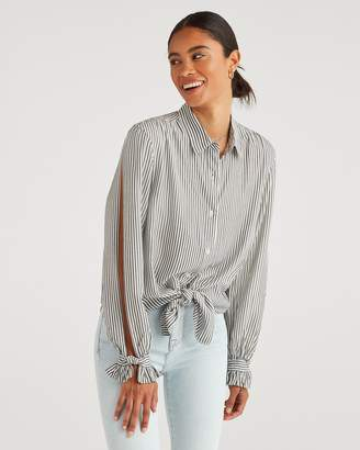 7 For All Mankind Split Sleeve Shirt in Grey and White Stripe