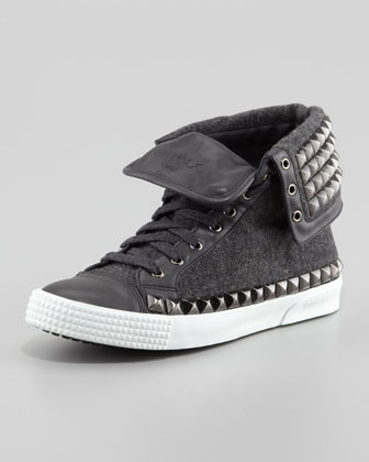 Jimmy Choo Spencer Men's Studded Flannel High-Top Sneaker