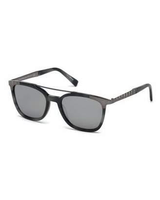 Ermenegildo Zegna Acetate & Chevron Metal Rectangular Glasses, Blue Havana/Gray $370 thestylecure.com