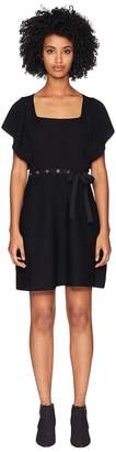 RED Valentino Ribbed Wool Yarn and Eyelets Women's Dress