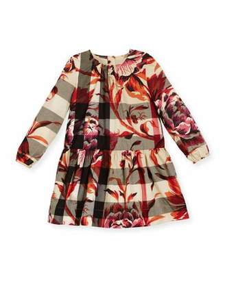 Burberry Tais Floral Check Poplin Dress, Pink/Tan, Size 12M $250 thestylecure.com
