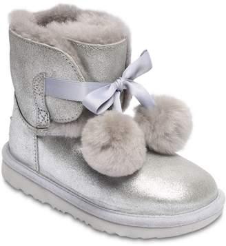 UGG Gita Metallic Shearling Boots W/ Pompoms