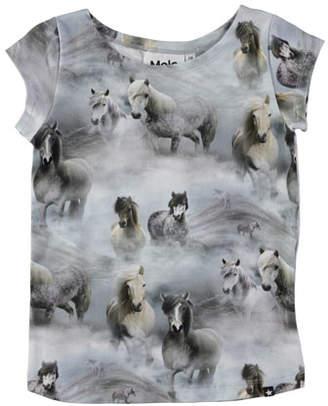 Molo Robinette Short-Sleeve Horse T-Shirt, Size 3-10