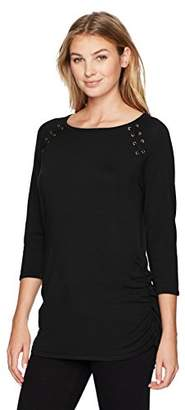 United States Sweaters Women's 3/4 SLV Raglan with Grommets and Side Seam Shirring