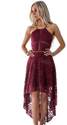 Eleter Women V Neck Halter Spaghetti Strap Lace High Low Crochet Swing Cocktail Party Dress (M,)