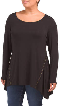 Plus Scoop Neck Top With Studded Detail