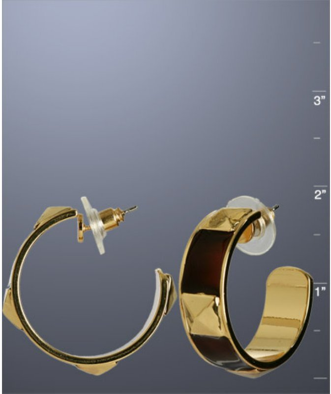 R.J. Graziano gold pyramid stud hoop earrings