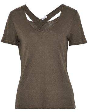 Splendid Woman Cutout Slub Supima Cotton And Micromodal-blend T-shirt Army Green Size M Splendid Outlet Many Kinds Of Free Shipping Cost Best Wholesale Cheap Online Fast Express fLvwHa