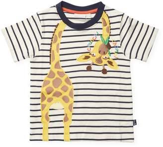 JoJo Maman Bébé Giraffe T-Shirt - Navy, Size 5-6y
