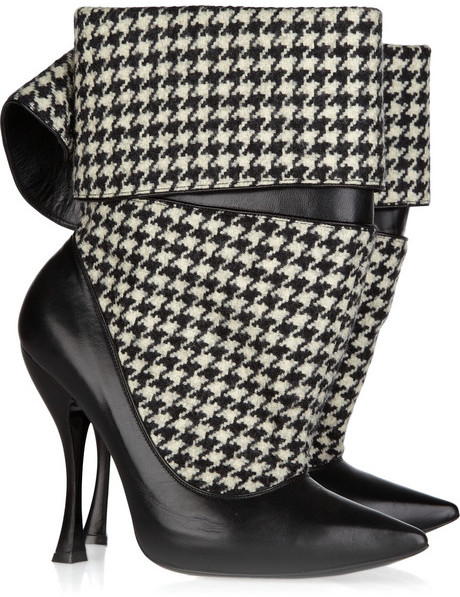 Alexander McQueen Houndstooth tweed and leather ankle boots