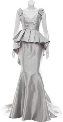 John Paul Ataker Strapless Metallic Gown w/ Tags