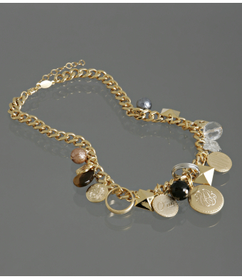 A.V. Max gold chunky charm short necklace