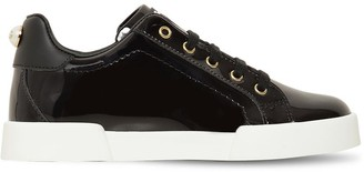 Dolce & Gabbana PATENT LEATHER LACE-UP SNEAKERS