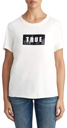True Religion Faux Leather Logo Oversized Tee