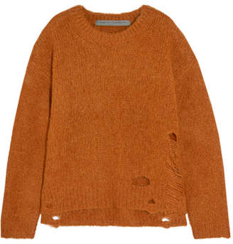 Raquel Allegra Lofty Distressed Knitted Sweater - Mustard