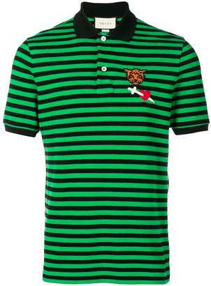 Gucci patch striped polo shirt