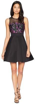 Bebe Fit Flare Embroidery Dress Women's Dress