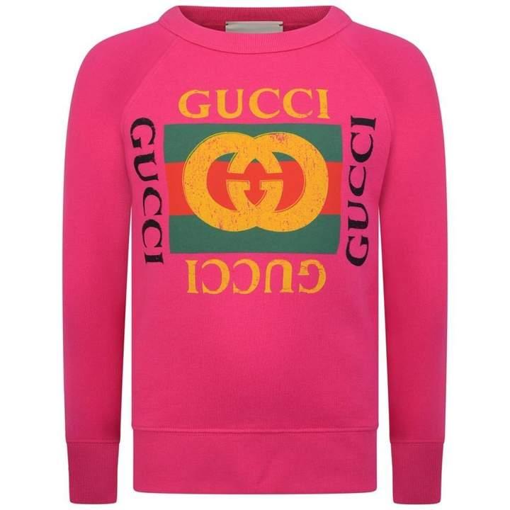 GUCCIPink Logo Print Sweater