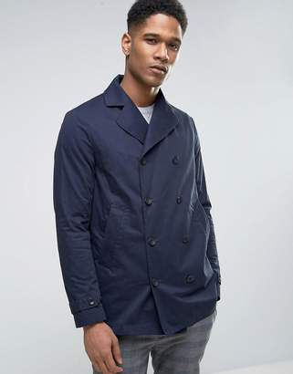 Sisley Double Breasted Pea Coat With Waxed Lining