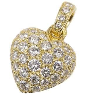 Cartier 18K Yellow Gold Pave Diamond Heart Top Charm Pendant Necklace