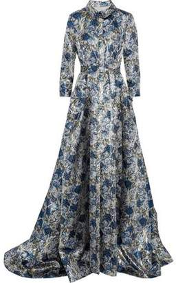 Carolina Herrera Belted Brocade Gown