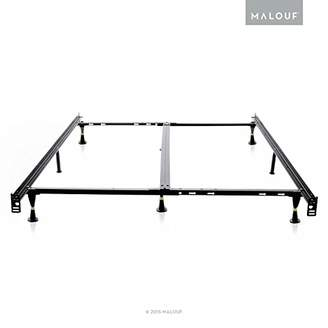 Malouf STRUCTURES Low Profile 8-Leg Heavy Duty Adjustable Metal Bed Frame with Glides - Universal Size (Cal King - King - Queen - Full XL - Full - Twin XL - Twin)