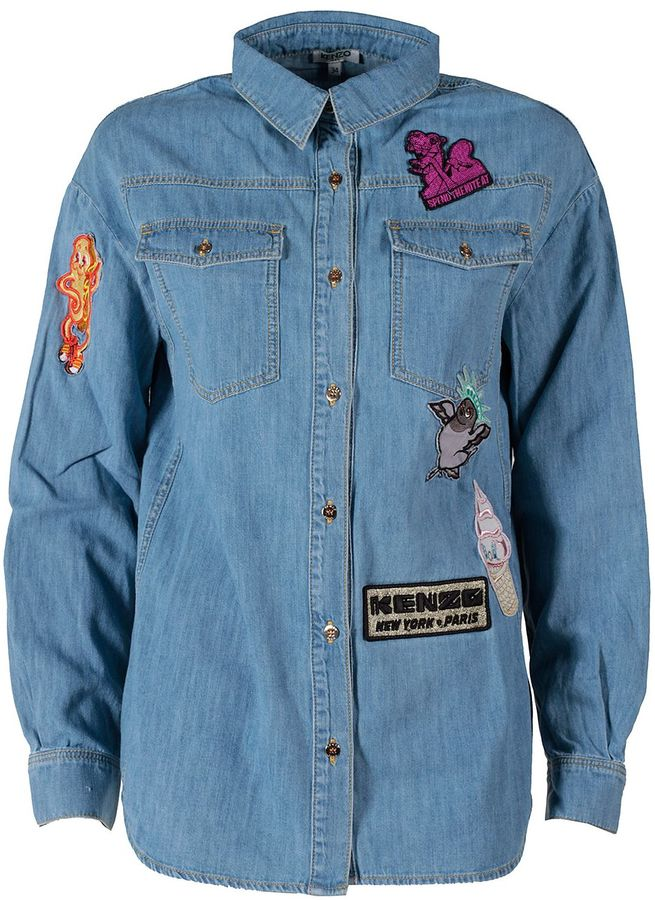 Kenzo Kenzo Badges Denim Boyfriend Shirt