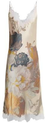 Carine Gilson V Neck Silk Satin Slip Dress - Womens - Pink Print