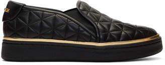 Balmain Black Quilted Slip-On Sneakers