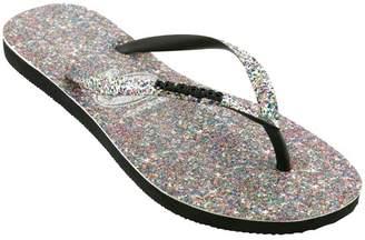 Havaianas Womens Multi Glitter Slim Carnaval Flip Flop - Metallic