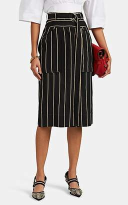 Cédric Charlier Women's Striped Pencil Skirt - Black Pat.