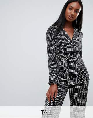 Missguided Tall Tall Mini Polka Dot Belted PJ Top