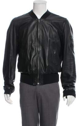 6de13fa26 Mens Dolce Gabbana Leather Bomber Jacket - ShopStyle
