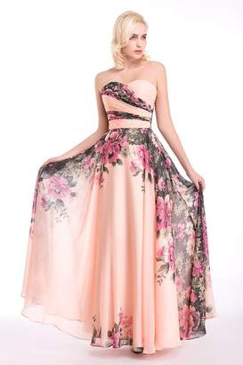 WWW USA Womens Evening Dress Marrige Banquet Chiffon Flowers Pattern Romantic Prom Dress