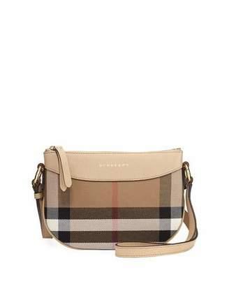 Burberry Girls' Coca Check Canvas Leather-Trim Crossbody Bag $395 thestylecure.com