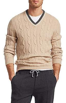 Brunello Cucinelli Men's Cable Varsity V-Neck Sweater