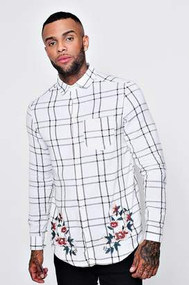 boohoo Floral Embroidered Check Long Sleeve Shirt