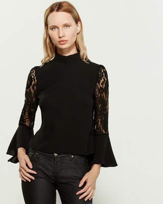 Gracia Contrast Lace Ruffle Blouse