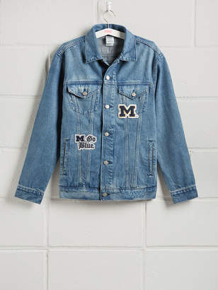 PINK University of Michigan Banded Denim Jacket.