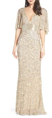Mac Duggal Beaded Capelet Sleeve Evening Dress