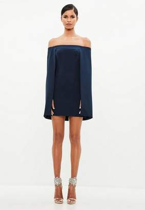 Missguided Navy Bardot Cape Mini Dress