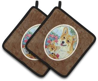 Corgi East Urban Home Momma Loves Roses Potholder