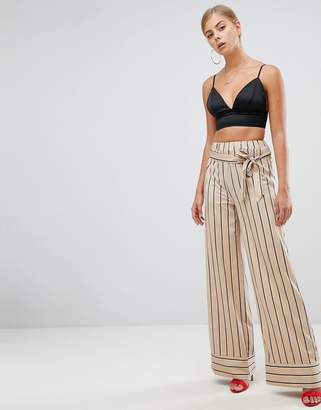 Missguided wide leg tie waist stripe pants in nude