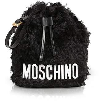 Moschino Black Signature Mohair Wool Clutch