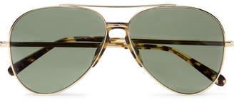 Brioni Aviator-Style Tortoiseshell Acetate-Trimmed Gold-Tone Sunglasses