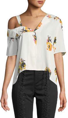 A.L.C. Bronte One-Shoulder Floral Button-Front Top