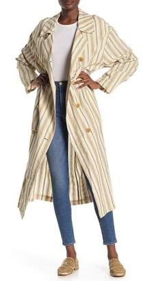 Free People Sweet Melody Stripe Trench Coat
