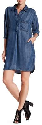 Love Stitch Denim Elbow Sleeve Shirt Dress