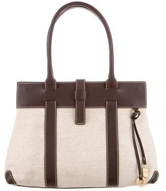 Loro Piana Leather-Trimmed Canvas Tote